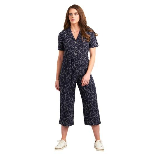 Vassalli Printed Button Front Short Sleeve Jumpsuit
