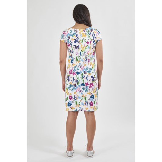 Vassalli Printed Lightweight Fitted Dress With Cap Sleeve