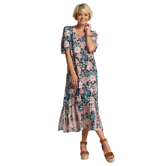 Madly Sweetly Heidi Bloom V Neck Midi Dress