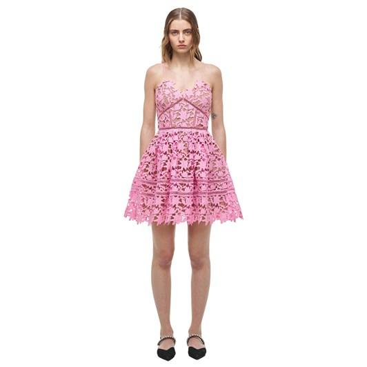 Self-Portrait Bubble-Gum Azaelea Lace Mini Dress