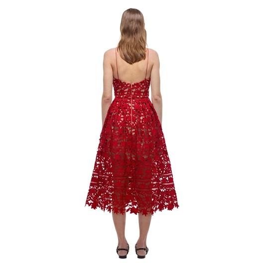Self-Portrait Red Azaelea Lace Midi Dress
