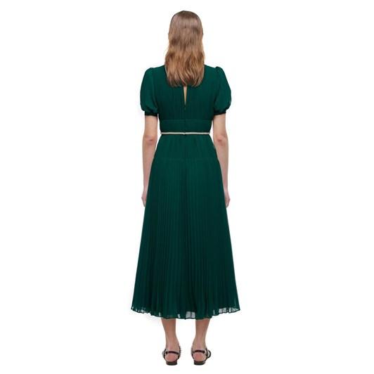 Self-Portrait Deep Green Chiffon Midi Dress