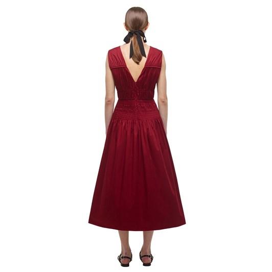 Self-Portrait Oxblood Bow Detail Midi Dress