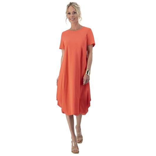 Paula Ryan Side Pleated Scoop Neck Dress