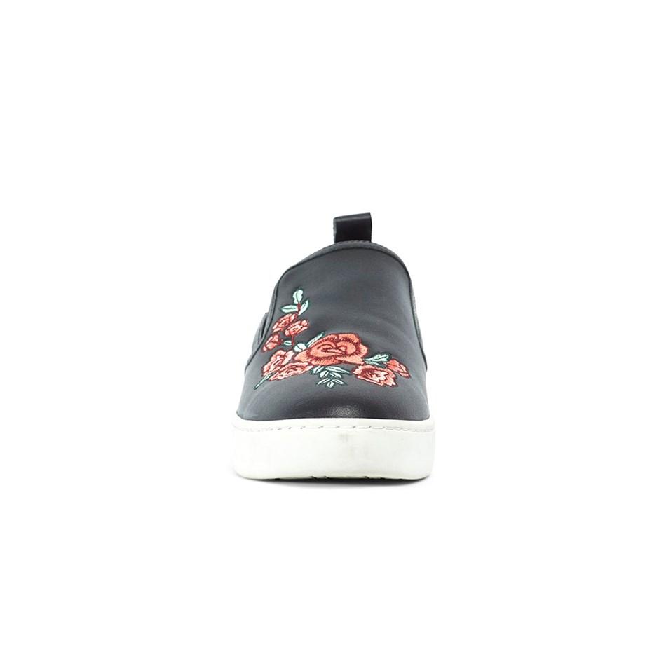 Miss Wilson Rhianna Sneaker Rose Printed Upper  - black