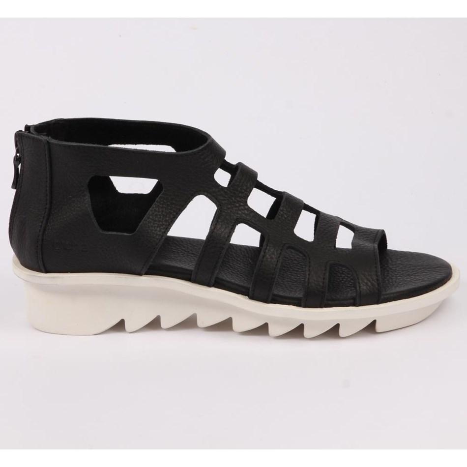 Arche  Rear Zip Sandal Ripple Sole  - noir