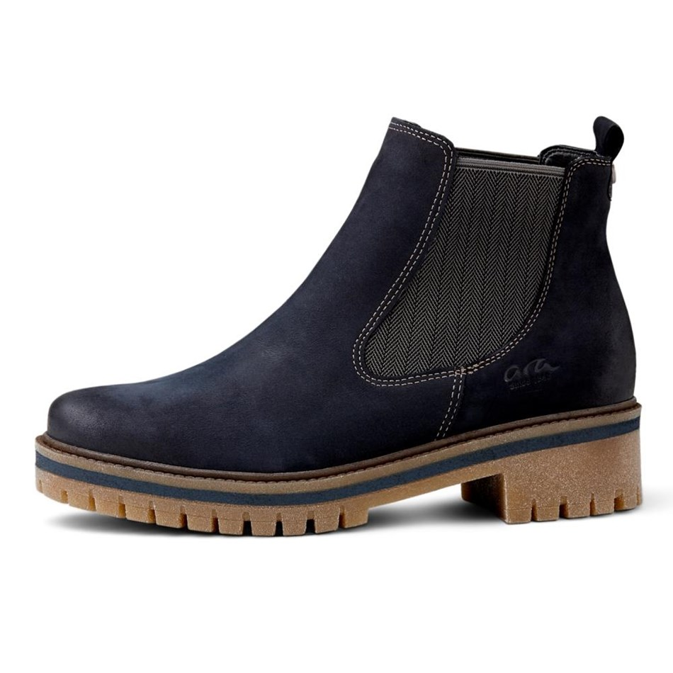 Ara Casual Leather Boot - navy