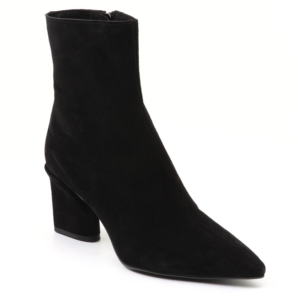 Lokas Suede Leather Point Boot - black suede