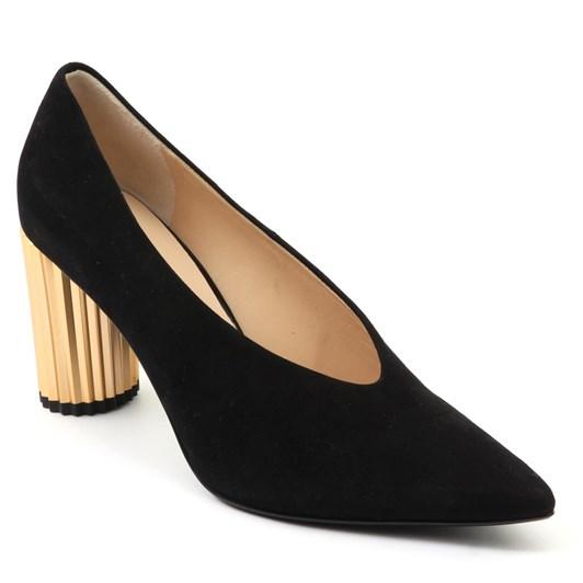 Hogl Black Suede Gold Heel