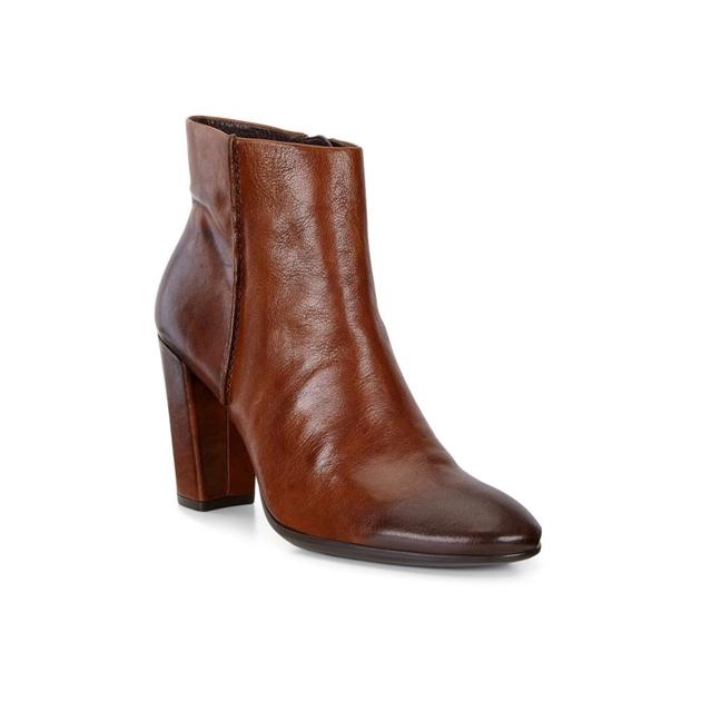 Ecco Shape 75 Block Boots - cognac