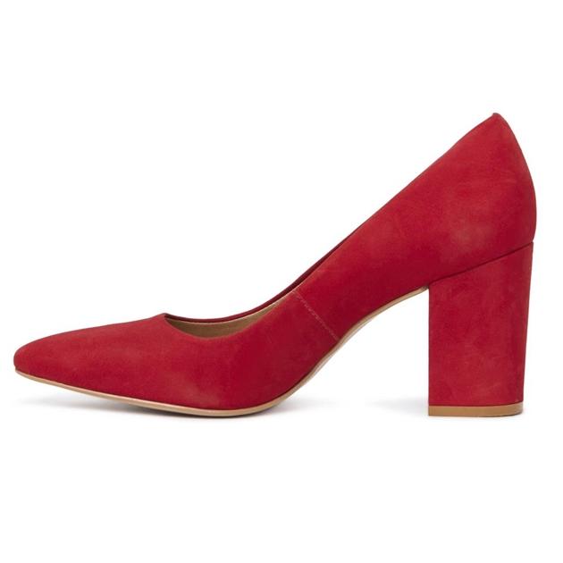 Kathryn Wilson Suzy Q Heel - red nubuck