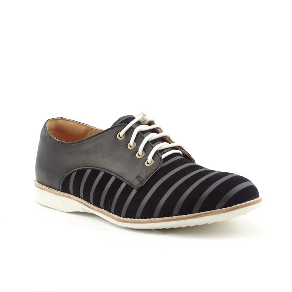 Rollie Derby Shoe - black lines black