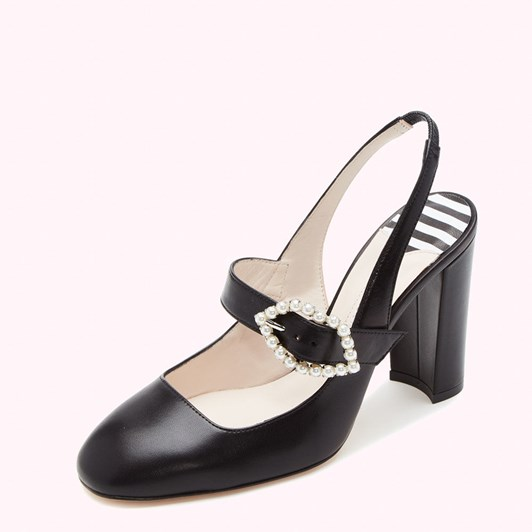 Lulu Guinness Pearl Lip Buckle Jasmine Kid Leather Court Shoe