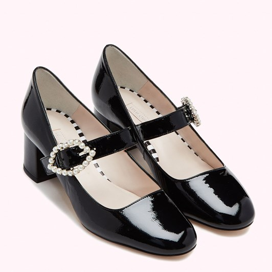 Lulu Guinness Pearl Lip Buckle Lexi Patent Leather Closed Toe Shoe