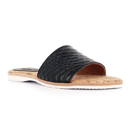 Rollie Sandal Slide Black Croc