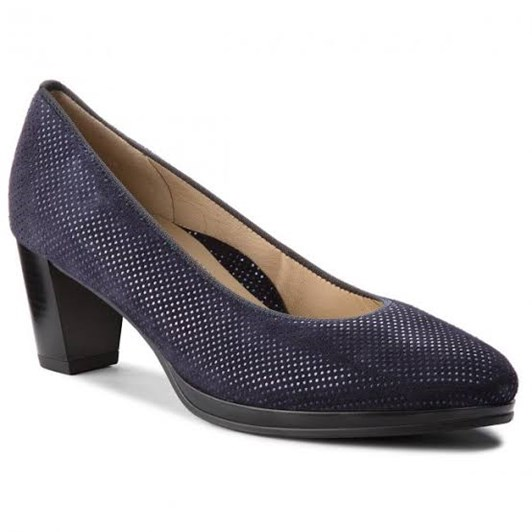 Ara Court Shoe 50Mm Navy Effect Kid Suede