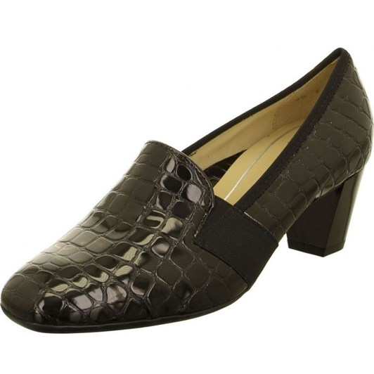 Ara Tab Court Shoe 47Mm Black Crocodile Patent