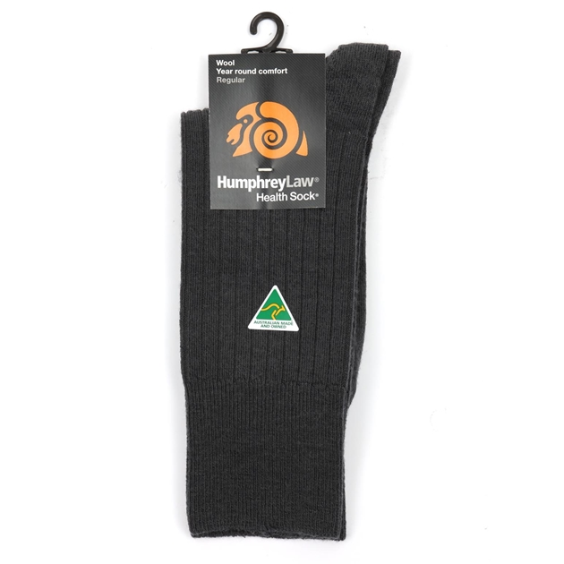 Humphrey Law Pure Wool No Tight Elastic Health Socks - 88 dark grey