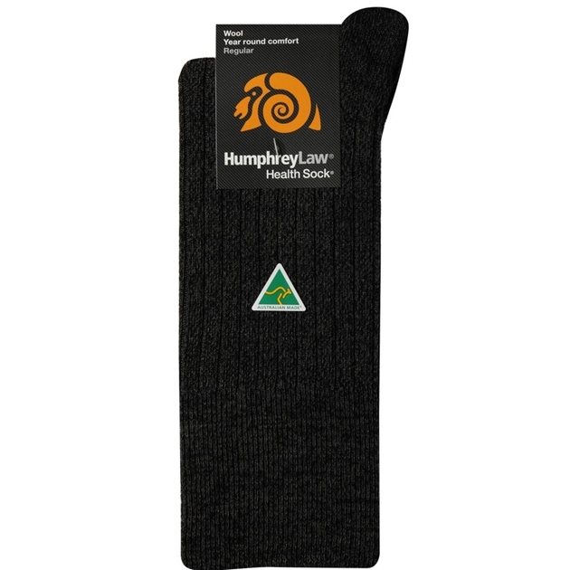 Humphrey Law Pure Wool No Tight Elastic Health Socks - 89 charcoal