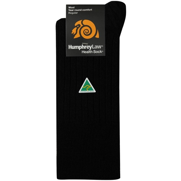 Humphrey Law Pure Wool No Tight Elastic Health Socks - 9 black
