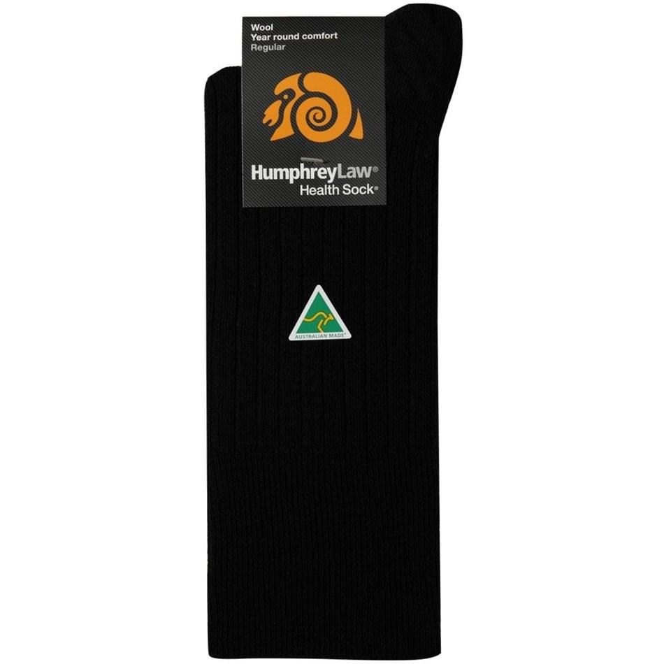 Humphrey Law Pure Wool No Tight Elastic Health Socks - 9 black