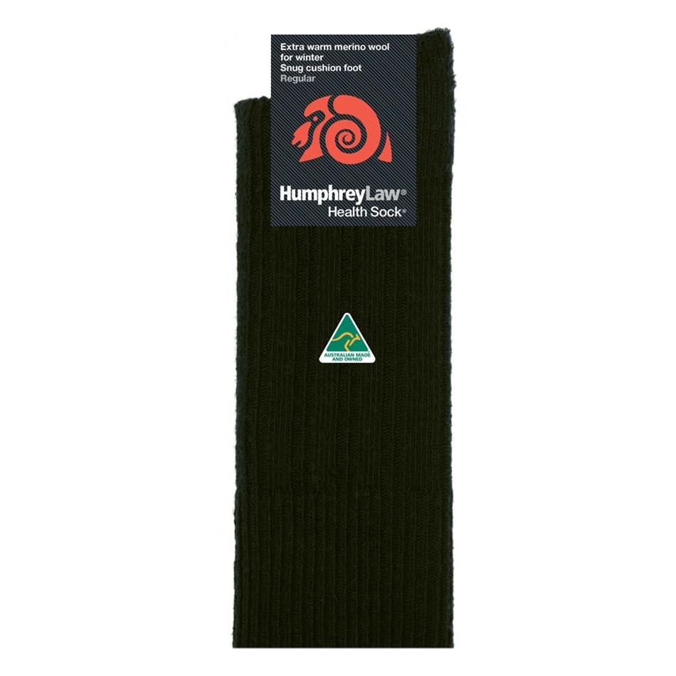 Humphrey Law Winter Merino No Tight Elastic Top Health Socks - 9 black