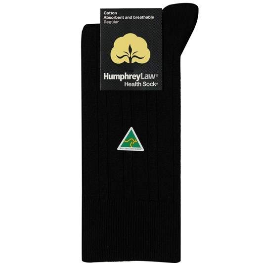 Humphrey Law Pure Cotton No Tight Elastic Black Health Socks