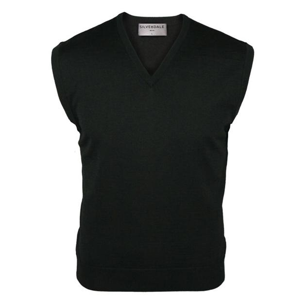 Silverdale Super 2/50s Fine Merino Vee Neck Vest - black