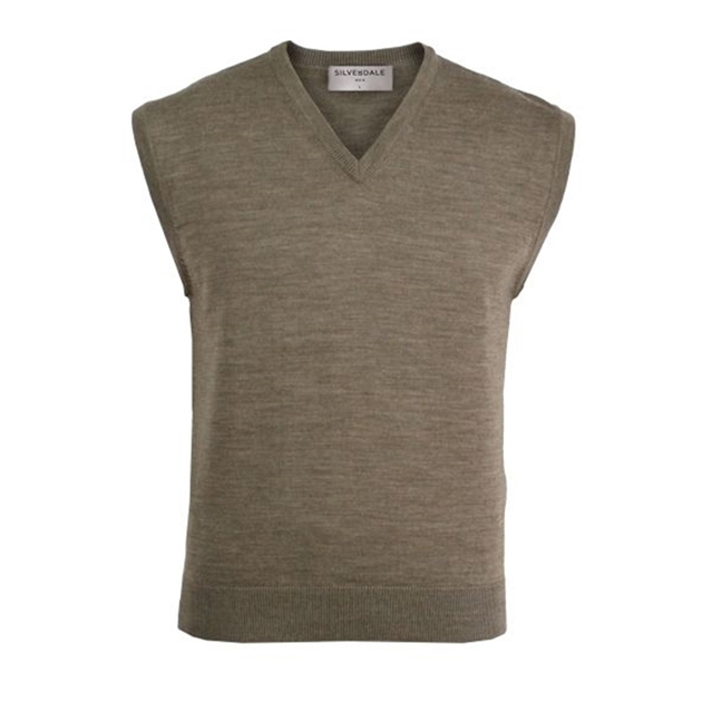 Silverdale Super 2/50s Fine Merino Vee Neck Vest - natural mix