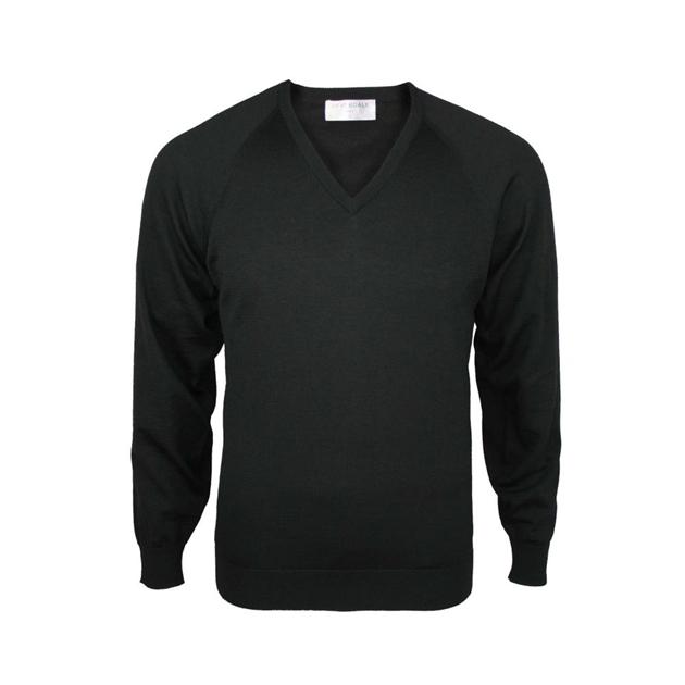 Silverdale Super 250s Fashioned Vee Neck Jersey - black