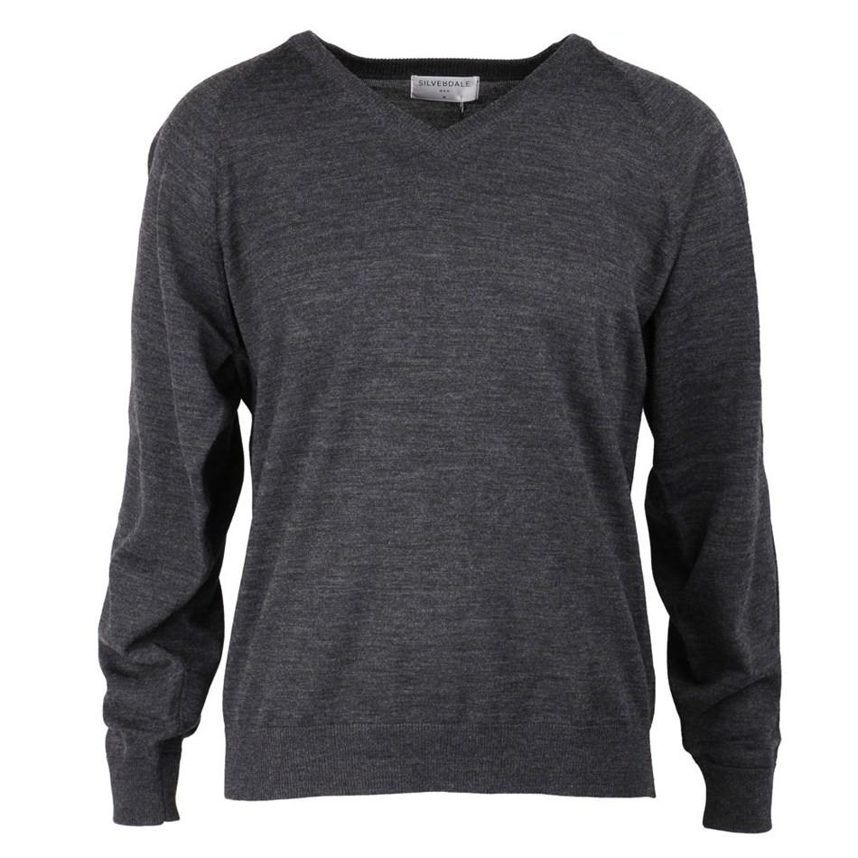 Silverdale Super 250s Fashioned Vee Neck Jersey - charcoal