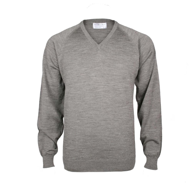 Silverdale Super 250s Fashioned Vee Neck Jersey - suede