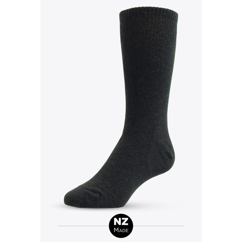 NZ Sock Co Possum Angora Plain Socks - black