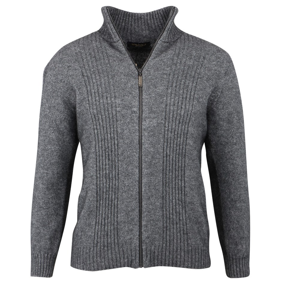 McDonald Rib Front Zip Jacket - pewter