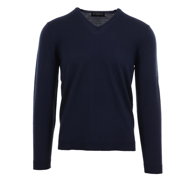 Silverdale Fine Vee Neck Pullover - Tailored Fit - ink