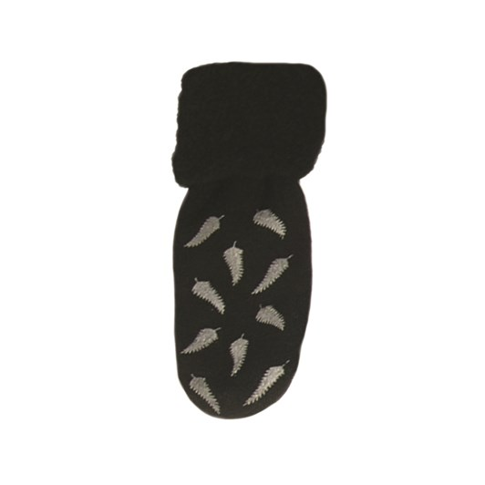 Chilli Socks Non Slip Tread (Black w Silver Fern Print)