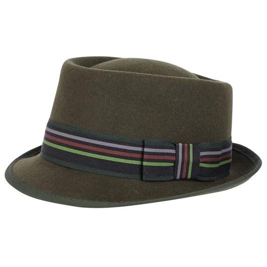 Hills Hats Wool Felt Striped Band Fedora