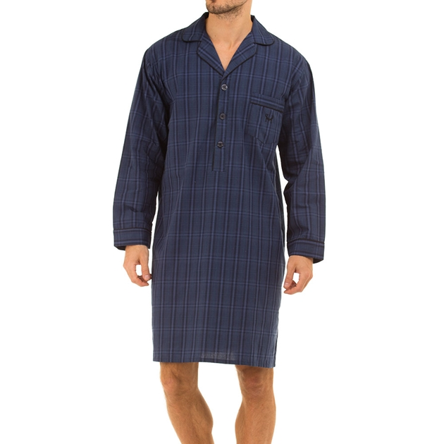 Haigman Mens Cotton Poplin Nightshirt - navybigcheck