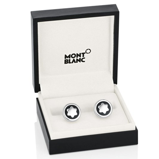 Montblanc Jewellery Cufflinks, Round, Steel, Onyx Emblem