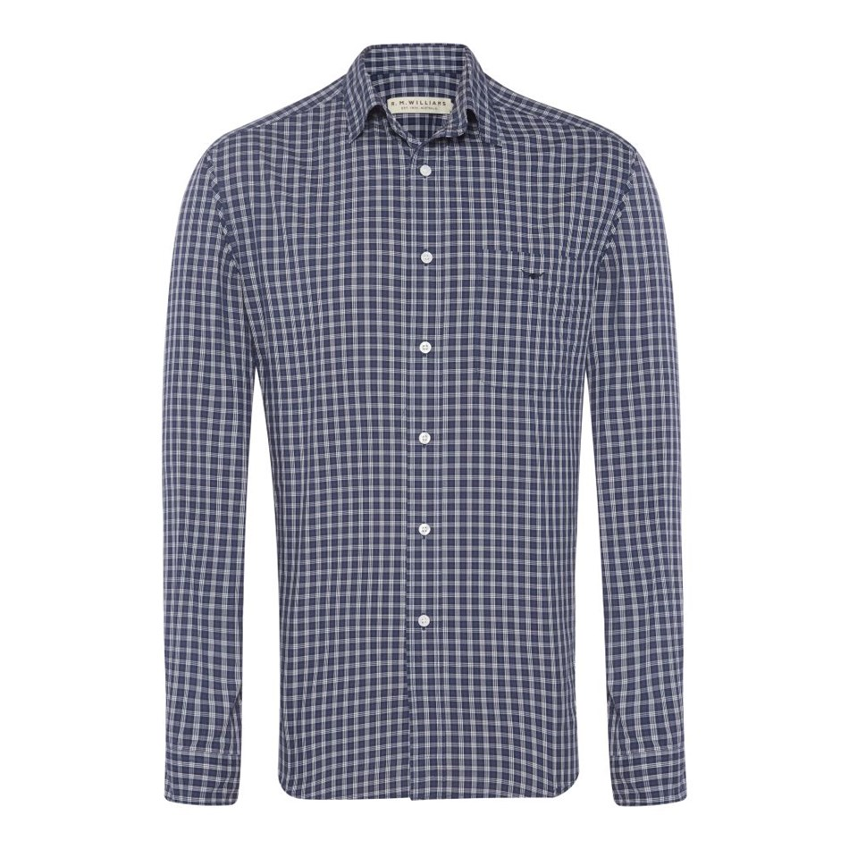 R.M. Williams Collins Shirt - psv8 white navy