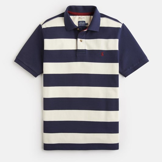 Joules Striped Pique Polo With Plain Sleeves