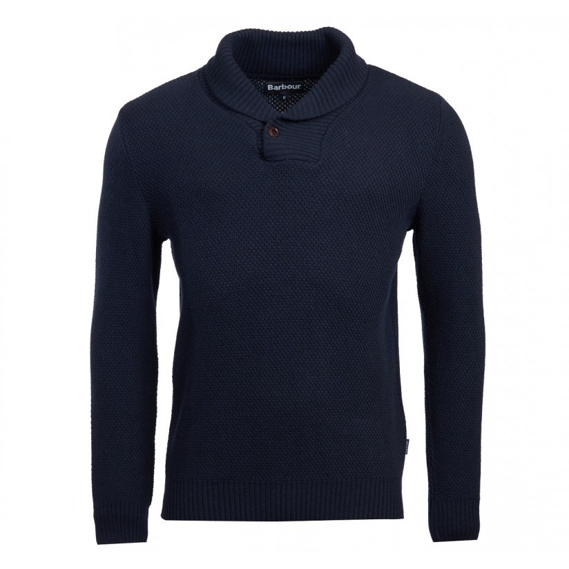 Barbour Honeycomb Shawl Jersey - navy