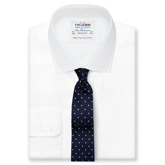 T.M.Lewin Tie Textured Satin Spot Navy White
