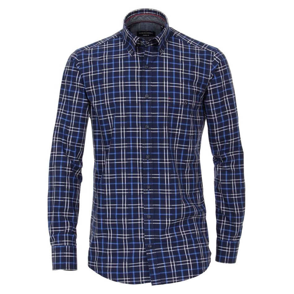 Casamoda B.D. LS Check Shirt - 100 blue