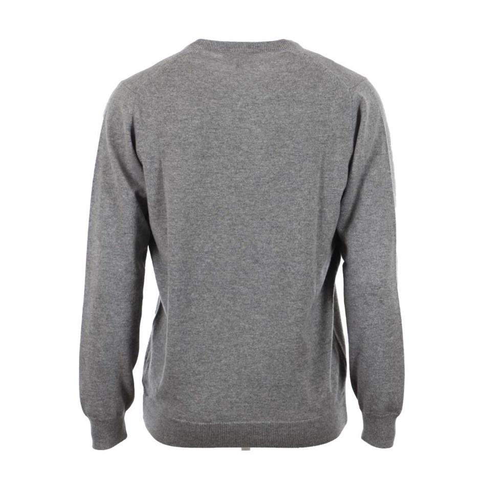 Ellemme 100% Cashmere V Neck Top - mid grey