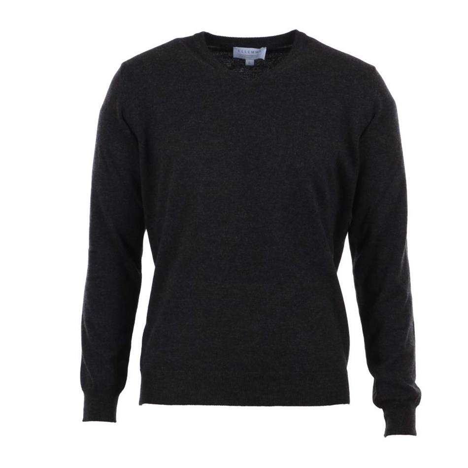 Ellemme Wool V Neck Top - charcoal