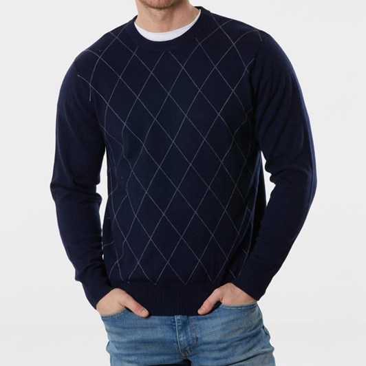 Bridge And Lord Crew Pullover With Splintered Stitch Diamonds