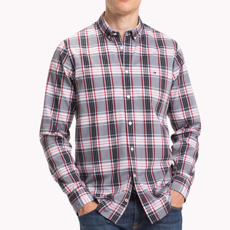 Tommy Hilfiger Slim Multi Color Check Shirt - goji berry  mul