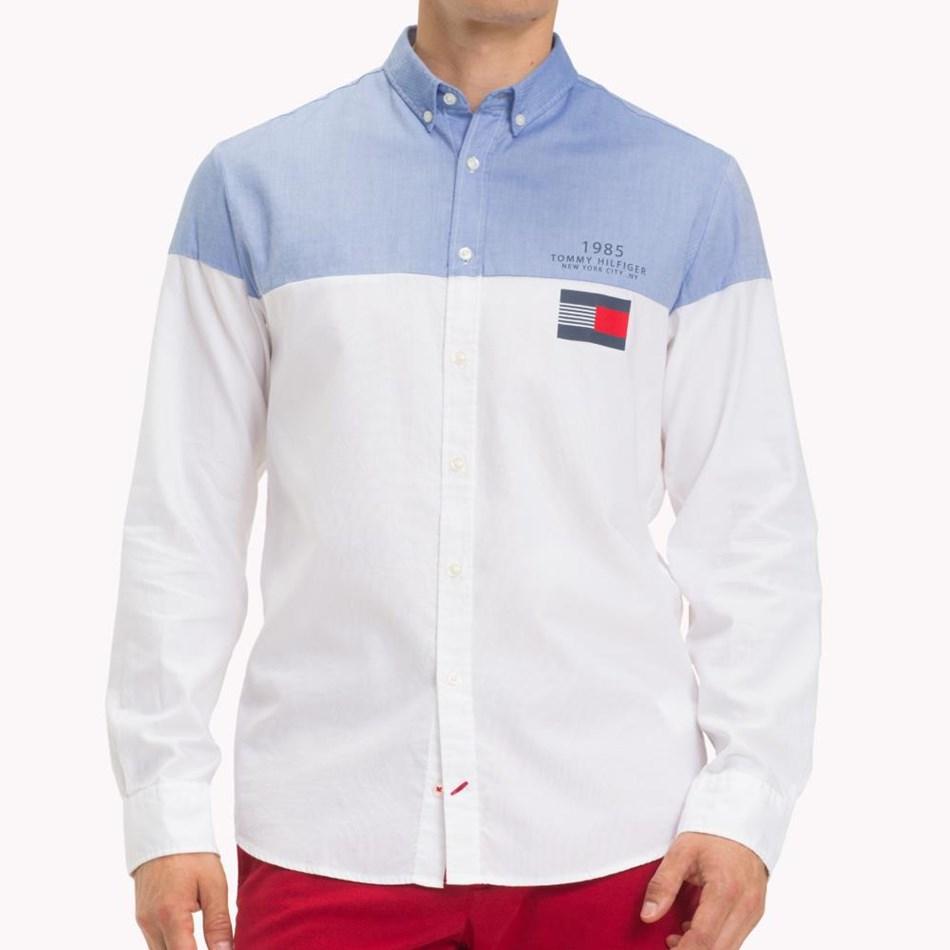 Tommy Hilfiger Color Block Shirt - shirt blue  bri