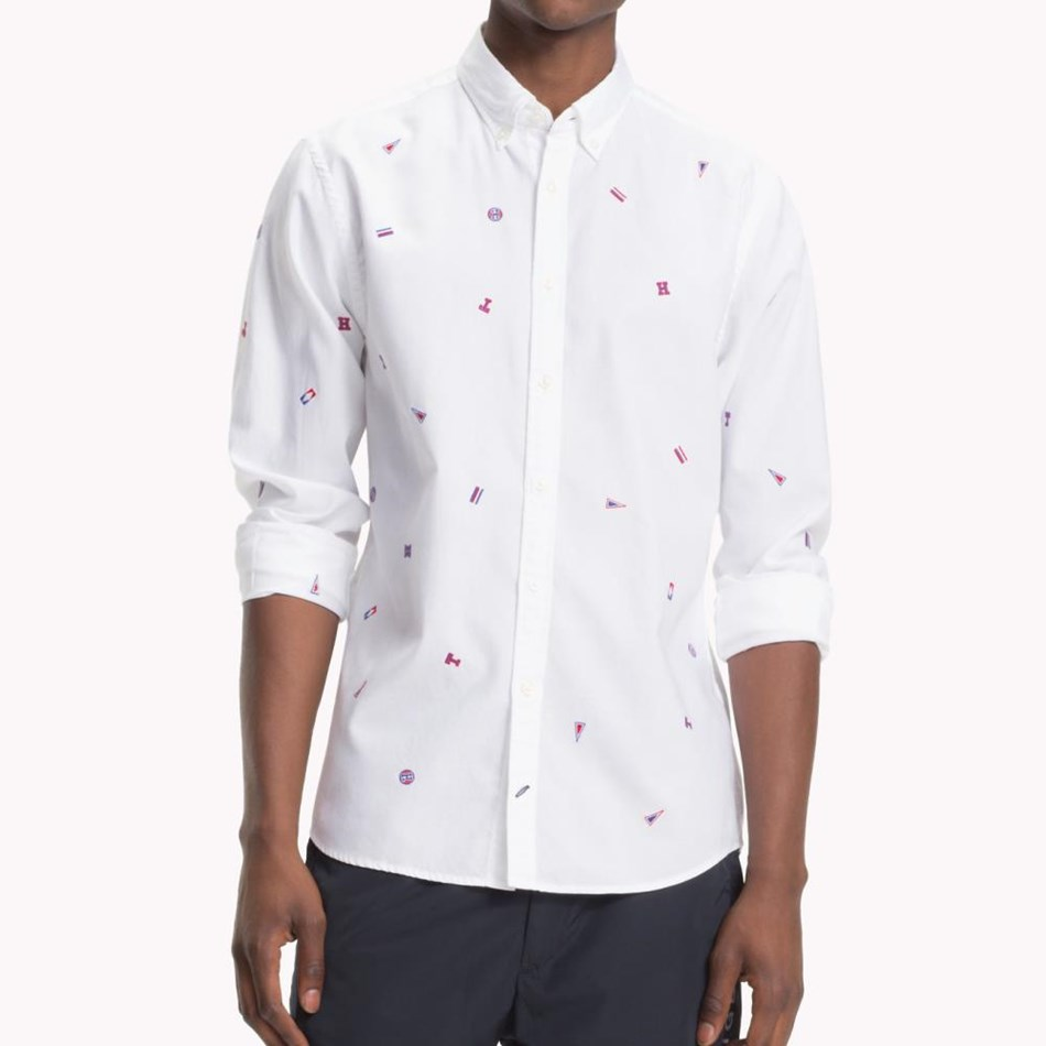 Tommy Hilfiger Allover Embroidery Shirt - bright white  m